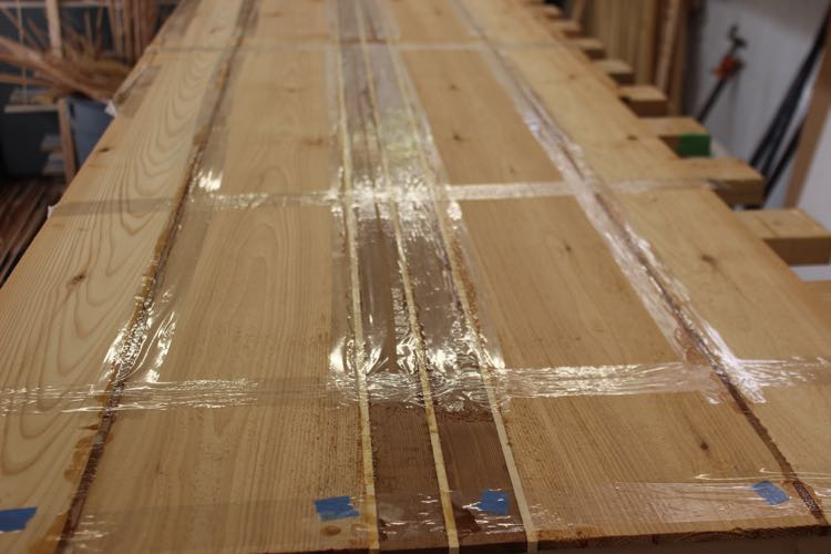 How to build a wood paddle board - flattening panels 1