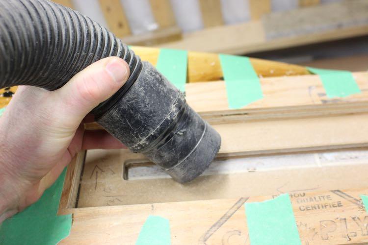 fin box install - vacuum debris